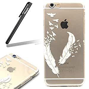 iPhone 6S Plus Case,iPhone 6 Plus TPU Case,iPhone 6 Plus /6S Plus (5.5 inch) Cover [Scratch-Resistant],Techzon iPhone 6 Plus Protective Bumper Case,Clear Thin Transparent Soft Gel TPU Silicone Skin Case for iPhone 6S Plus,Perfect Fit Unique Fashion Cute Floral Butterfly Animal Pattern Dandelion Flower Eiffel Tower Peach blossom Dreamcacther Bird Cartoon Case for iPhone 6 Plus / 6S Plus (5.5 inch) with 1 x Stylus by Ukayfe