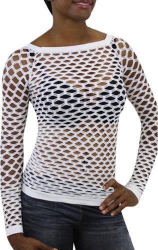 ToBeInStyle Women's Elastic Nylon-Spandex Long Sleeve Fishnet Layer Blouse Top - White - One Size