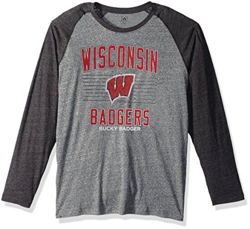 (J America NCAA Wisconsin Badgers Men's AAA Tee Baseball Tee, X-Large, Graphite Heather)