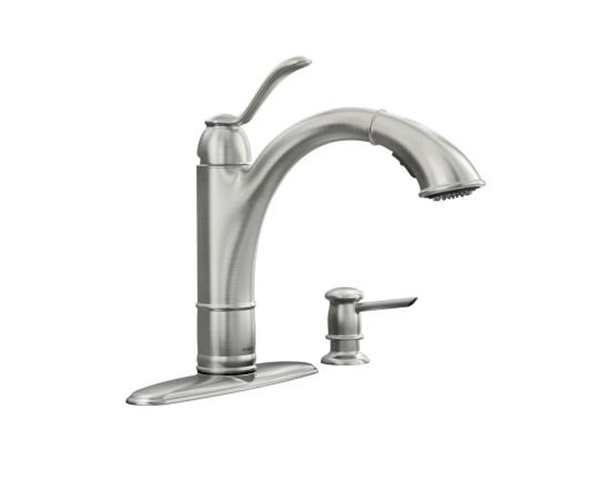 Moen Walden Single-Handle Pull-Out Kitchen Faucet Featuring Microban ...