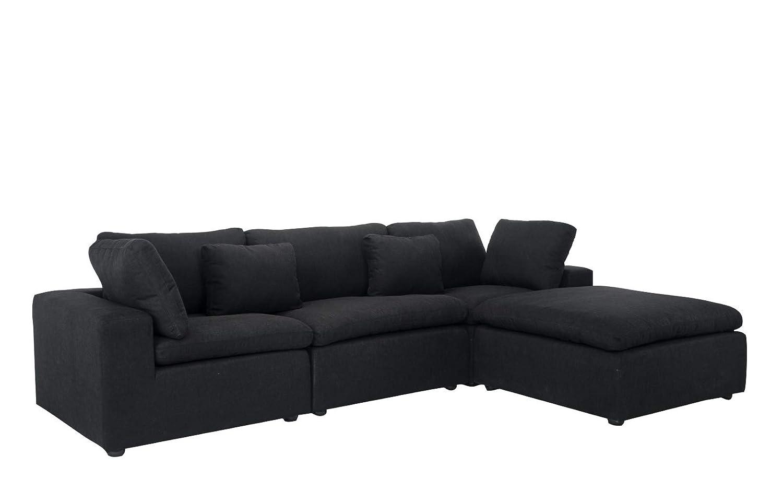 Amazon.com: Sofá clásico de lino con forma de L, con chaise ...