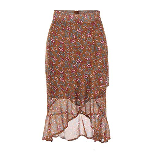 - Dress for Woman ! Summer High Wasit Elastic Floral Chiffon Irregular Fishtail Skirt Long Dress(M,Brown