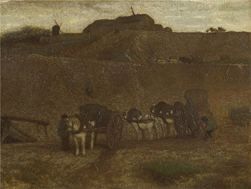 Outrageous Quality Polyster Canvas ,the High Definition Art Decorative Canvas Prints Of Oil Painting 'Matthijs Maris Men Unloading Carts Montmartre ', 8 X 11 Inch / 20 X 27 Cm Is Maximum effort For Hallway Artwork And Home Decor And Gifts