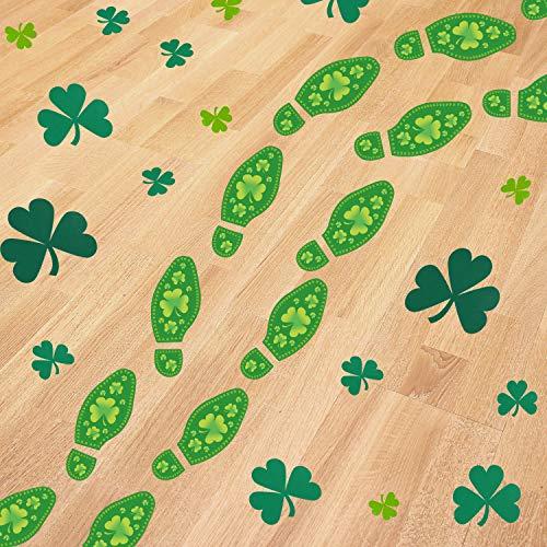 Blulu 40 Counts Leprechaun Footprints 72 Pieces Shamrock Sticker St Patrick Day Lucky Clover Floor Decals Stickers Shamrock Floor Decals for St Patricks Day Decorations -