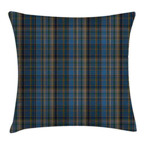 Lunarable Plaid Throw Pillow Cushion Cover, Striped Geometric British Pattern with Modern Design Elements in Blue, Decorative Square Accent Pillow Case, 20 X 20 inches, Blue Navy Blue Marigold ()