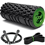 Foam Roller - Exercise Foam Roller - Massage Roller Set for Muscles + free Jumping Rope & Resistance Loop Band