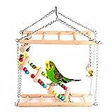 Hamiledyi Bird Swing For Parrot Parakeet Budgie Cockatiel Climbing Ladder Swinging Wood Hanging Toy Bird Toy Ladder Wooden Bridge Swings for Parrots Wooden Suspension Bridge