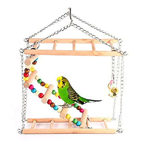 Parrot Toys Parrot Climbing Net Hanging Ladder Bridge Macaw Cage Chew Decoration Bird Toys Pet Supplies With (Gnu Whip It)