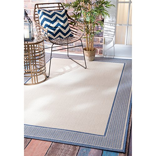 nuLOOM Solid Border Indoor/Outdoor Area Rug (5'3 x 7'6) - Rug Indoor Outdoor Border