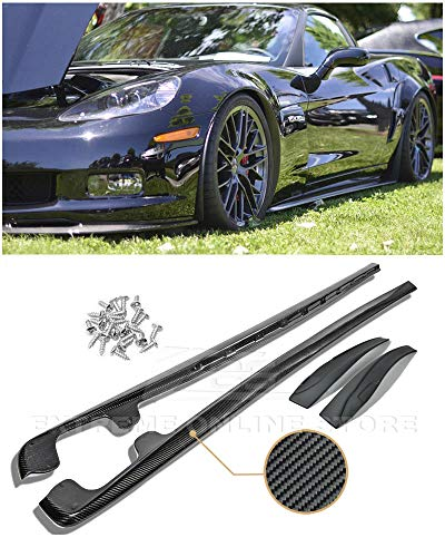 Extreme Online Store Replacement for 2005-2013 Chevrolet Corvette C6 Grand Sport Z06 | EOS ZR1 Style Carbon Fiber Side Skirts Rocker Panel Extensions with Mud Flaps 1 Pair SS-028-BKCF