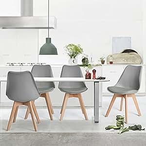 4 sillas para comedor tipo frankfurt gris for Sillas comedor amazon