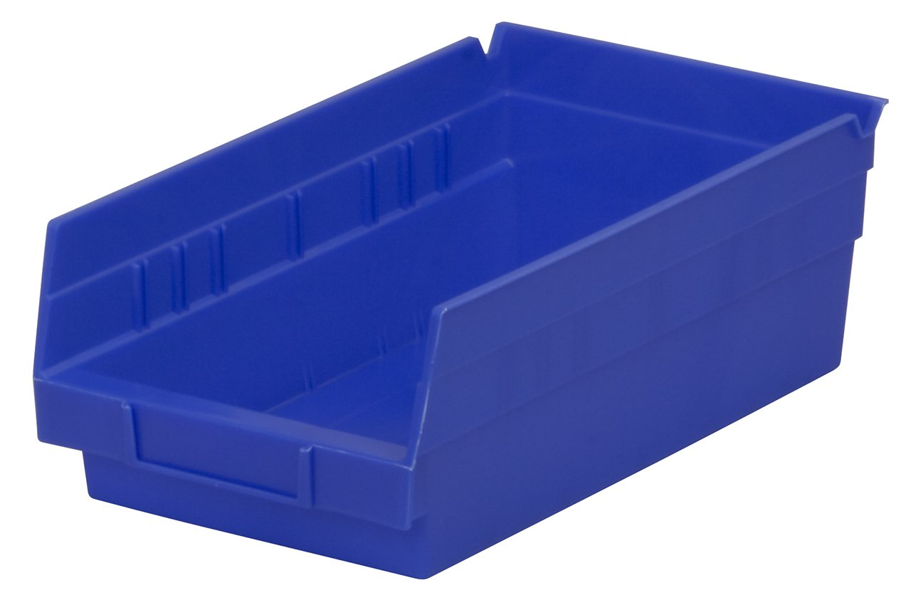 Akro-Mils 30130 12-Inch by 6-Inch by 4-Inch Plastic Nesting Shelf Bin Box, Blue, 12 Pack