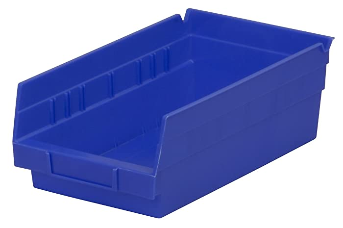 Akro-Mils 30130 12-Inch by 6-Inch by 4-Inch Plastic Nesting Shelf Bin Box, Blue, 12 Pack