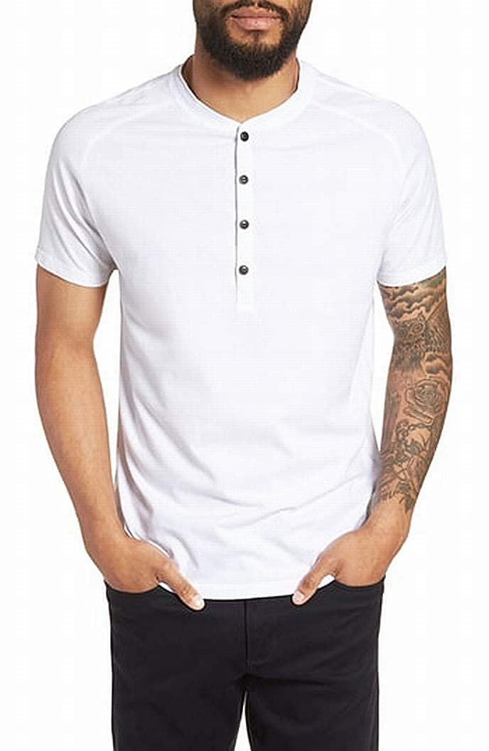 Good Man Brand Bright Mens Solid Button Henley Shirt White 2XL