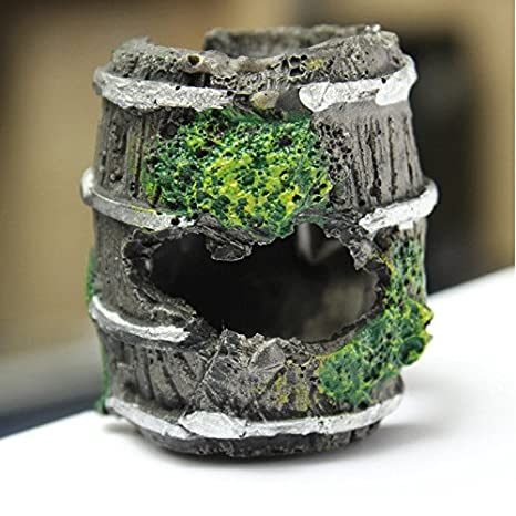 C & C productos Acuario barril resina miniatura ornamento Fish Tank cueva paisajismo