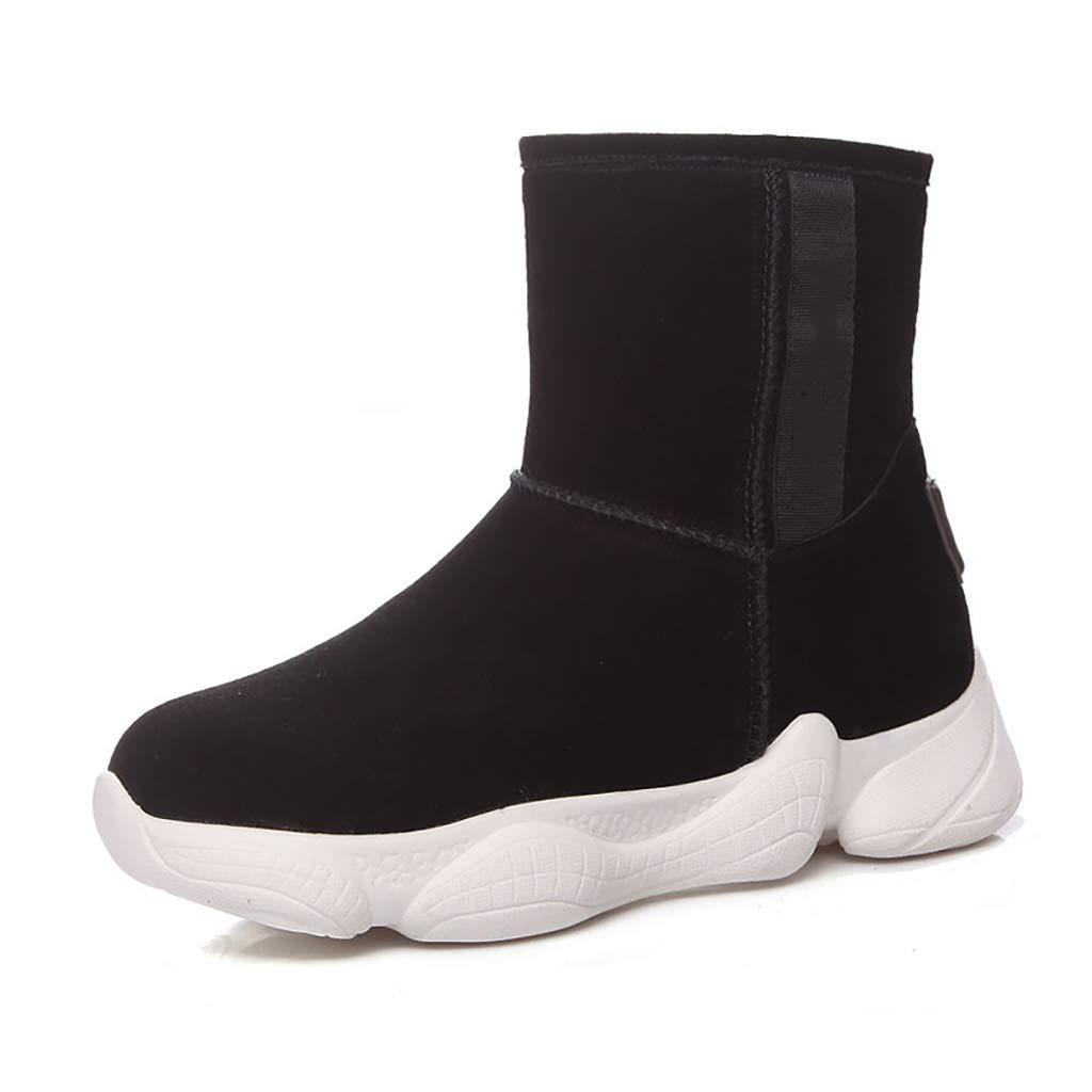 Color : Black, Size : EU 35//US 4//UK 3//JP 22.5cm Gray Black YUBIN Womens Matte Leather Non-Slip Plus Velvet Winter Snow Boots Nude