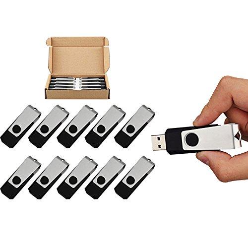 10pcs 16GB USB Flash Drives 10 Pack Flash Drive Flash Memory Stick Swivel USB 2.0 in Black