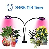 20W Dual Head Plant Grow Light Growstar with 3/6/12H Timmer Red/Blue/White Spectrum 360 Degree Flexible Gooseneck 3 Switch Modes Hydroponic Gardening, Greenhouse, Office Reading [2018 Latest Upgrade]