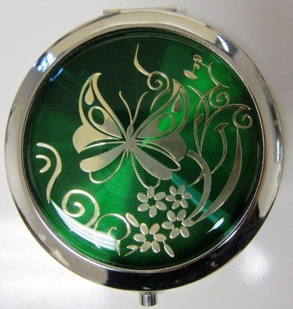 Purse Handbag Double Compact Cosmetic Mirror – Butterfly – Green