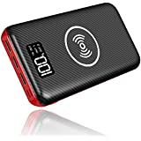 KEDRON Portable Charger Power Bank, 24000mAh Wireless Charger with LED Digital Display and 3 Outputs & Dual Inputs External Battery Pack for iPhone X,iPhone 8,Samsung Galaxy S8 Note 8 and More (Red)