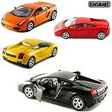 "Set of 4: 5"" Lamborghini Gallardo 1:32 Scale (Black/Orange/Red/Yellow) by Kinsmart"