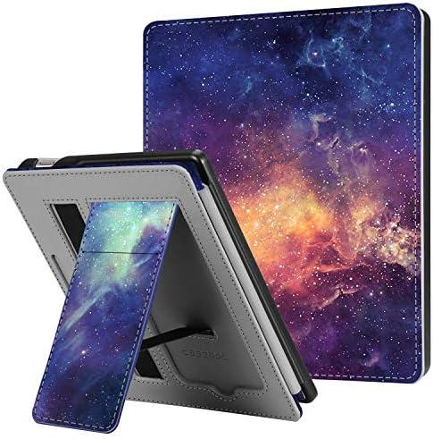 Funda con soporte CaseBot para el nuevo Kindle Oasis décima generación versión 2019 y novena generación versión 2017Funda de piel sintética premium con ranura para tarjeta y correa de mano Galaxy