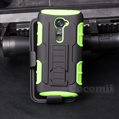 Cocomii Robot Armor LG G2 VS980 LS980 Case New [Heavy Duty] Premium Belt Clip Holster Kickstand Shockproof Bumper [Military Defender] Full Body Dual Layer Rugged Cover for LG G2 VS980 LS980 (R.Green) (Best Protective Case For Lg G2)