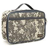 Kids Lunch box Insulated Soft Bag Mini Cooler Thermal Meal Tote Kit with Handle and Pocket for Girls, Boys by FlowFly,Digital Camo