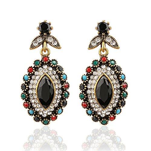 [Lemonstraw Retro fashion colorful gems full diamond luxury LADIES EARRINGS] (India National Costume For Male Kids)