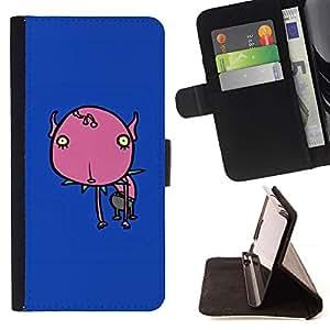 Momo Phone Case / Flip Funda de Cuero Case Cover - Flor pintada azul del patín del monstruo - Samsung Galaxy S6 Active G890A