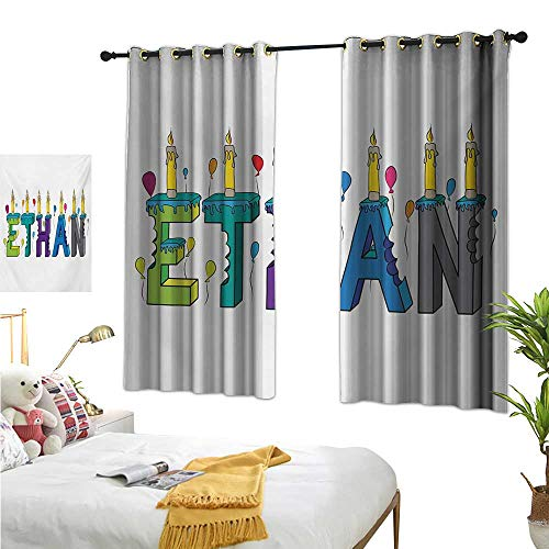 Price comparison product image Ethan Decorative Curtains for Living Room Celebration Themed Candles and Bitten Cake Popular Male Name Birthday Party Image W55 x L45, Suitable for Bedroom Living Room Study,  etc.