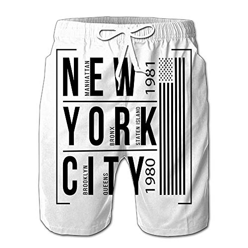 New York City Brooklyn Bronx Queens Manhattan Staten Island Men Swimwear Volley Pants Pocket S