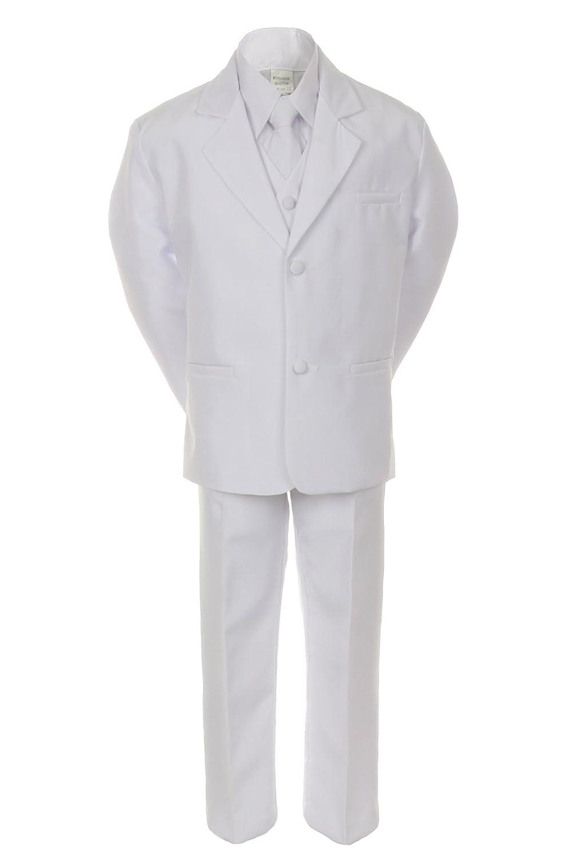Unotux Boy White 5pc Formal Easter Baptism First Communion Tuxedo Suit Vest S-20 (S:(0-6 months))
