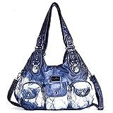 Handbag Hobo Women Handbag Roomy Multiple Pockets Street ladies' Shoulder Bag Fashion PU Tote Satchel Bag for Women (W7127Z Blue)