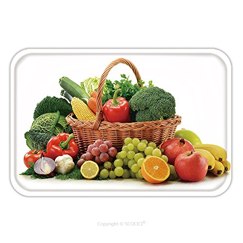 Flannel Microfiber Non-slip Rubber Backing Soft Absorbent Doormat Mat Rug Carpet Composition With Vegetables And Fruits In Wicker Basket Isolated On White 88218493 for Indoor/Outdoor/Bathroom/Kitchen/