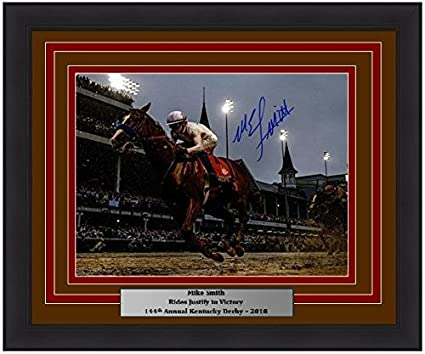 220ec2b87b3 Image Unavailable. Image not available for. Color  Horse Racing Mike Smith  Riding Justify Autographed 2018 Kentucky Derby 16x20 Framed ...