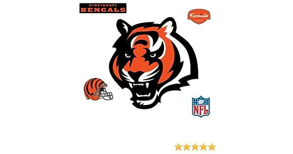 bec5dfed Fathead NFL Cincinnati Bengals Cincinnati Bengals: Tiger Head Logo - Giant  Officially Licensed NFL Removable Wall Decal