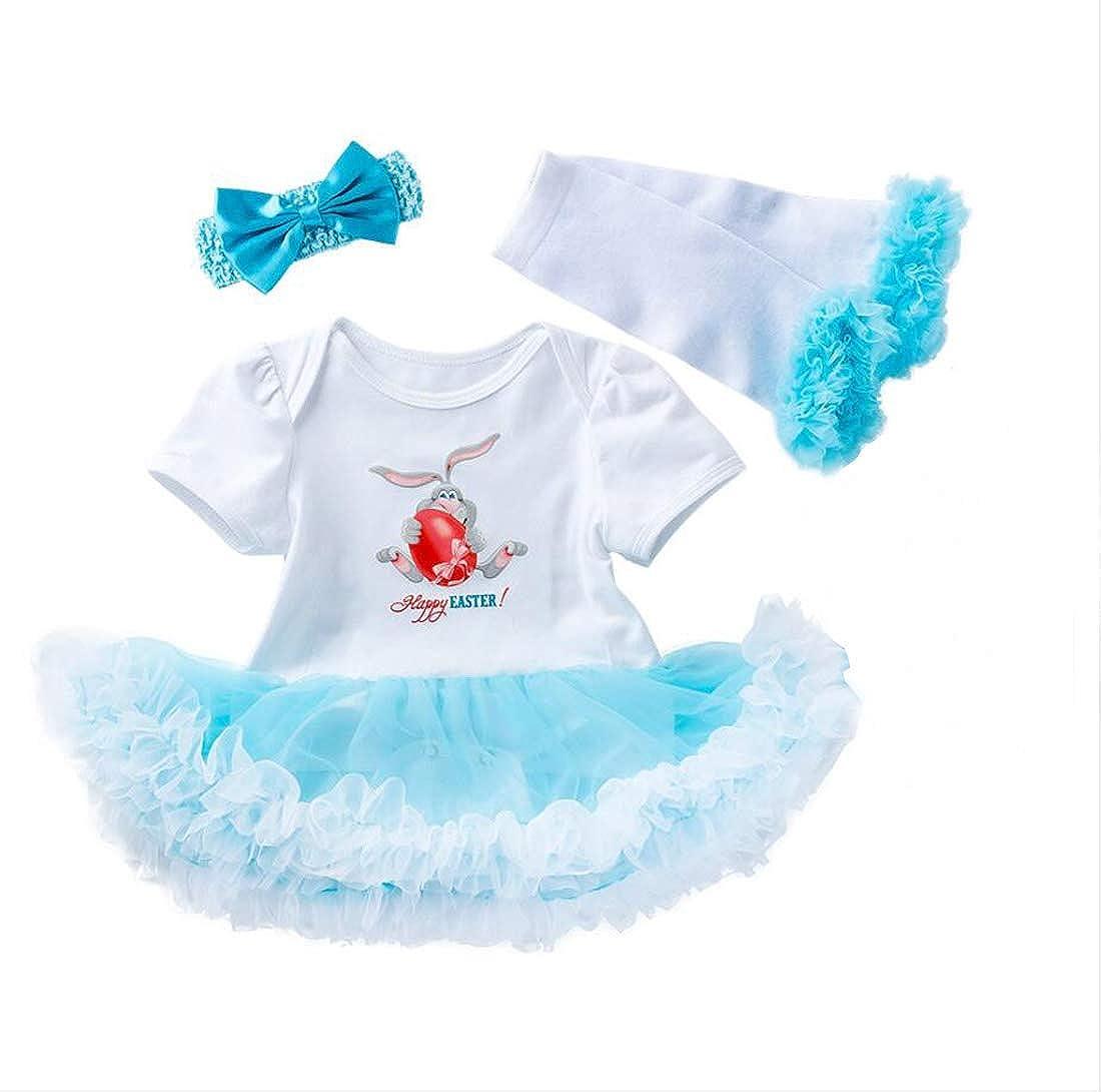 Marlegard Baby Girl 1st Happy Easter Day Colorful Eggs Printed Dress Headband Leggings