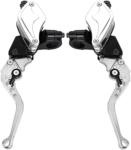 GOOFIT Maneta Embrague 22mm Hidraulico Moto Kit con M8 x 1.25mm Cilindro Maestro Aluminio CNC Universal para YZ125 YZ250 YZ250F YZ450F WR250F WR450F Pit Bike Scooter y Ciclomotor Plata