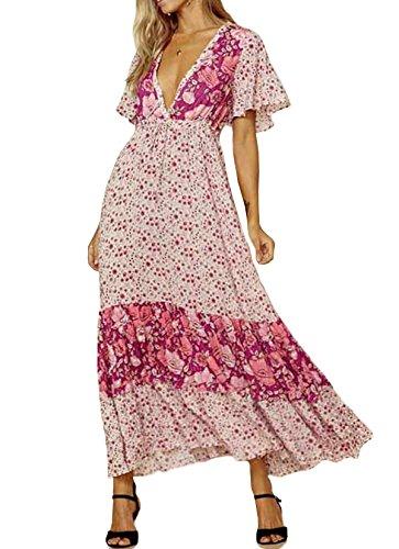 R.Vivimos Women Short Sleeve V Neck Cotton Beach Floral Buttons Maxi Dresses
