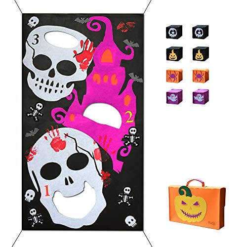 YuQi [8 Bags Included] Halloween Bean Bag Toss Games, Fun Carnival Corn Hole Party Game Camp Activities Set(Halloween -