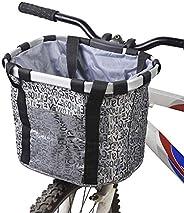 Payanwin Bike Basket, Small Pets Cat Dog Folding Carrier, Removable Bicycle Handlebar Front Basket, Quick Rele