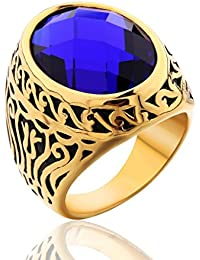 Jewellery Vintage Mens Stainless Steel CZ Ring Gold Biker Celtic Band Blue Round Stone