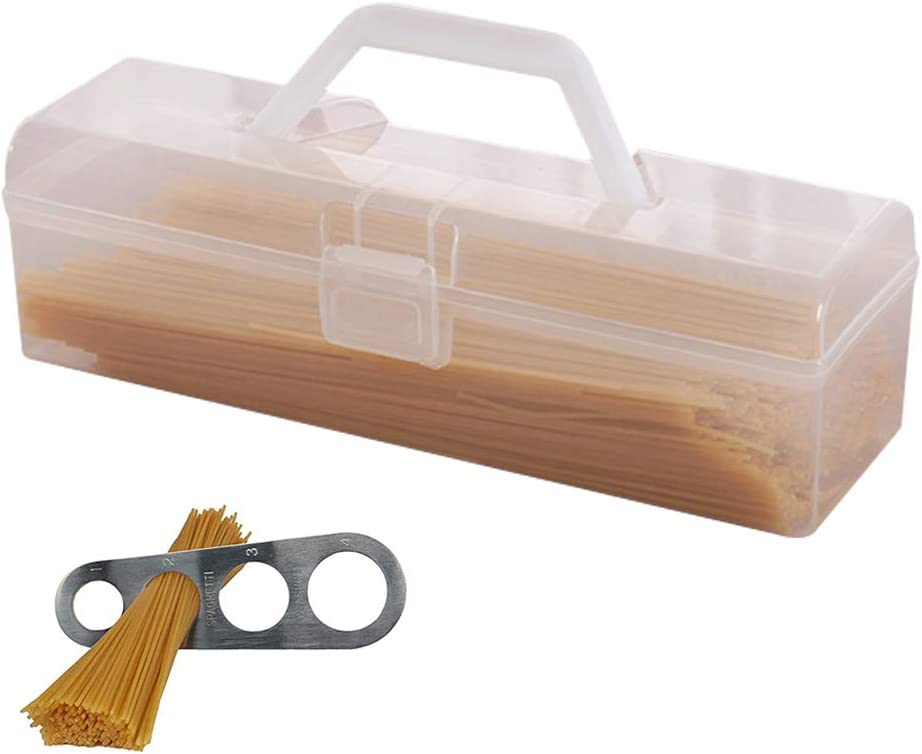 Rectangular Pasta Storage Containers with Measuring Tool|Spaghetti Plastic Container with Handheld Easy Lock Lids Airtight Waterproof Dust-proof for Spaghetti Noodles Pasta Eggs Fruits Snacks