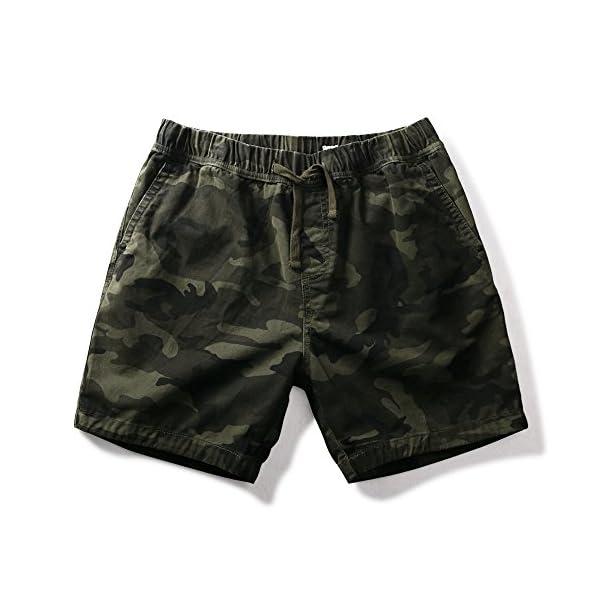 OCHENTA Men's Loose Fit Drawstring Twill Cargo Shorts