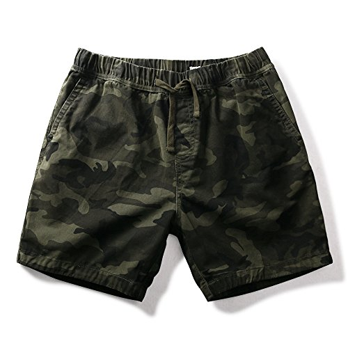 OCHENTA Mens Loose Fit Drawstring Twill Cargo Shorts