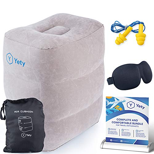 First Class Travel Pillow Set - Fly Feet Pillow, Toddler Bed Leg Rest Cushion Set, Inflatable Foot Rest For Air Travel With Accessories, Eye Cover, Ear Plugs
