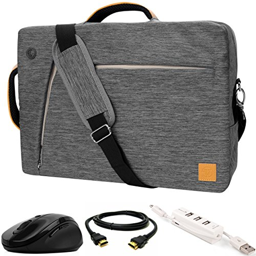 VanGoddy Gray Slate 3-in-1 Hybrid Laptop Bag w/ 3PC Accessory Bundle for MSI X Leopard / GT / Prestige / Dominator / Stealth / Apache / Mobile Workstation 14