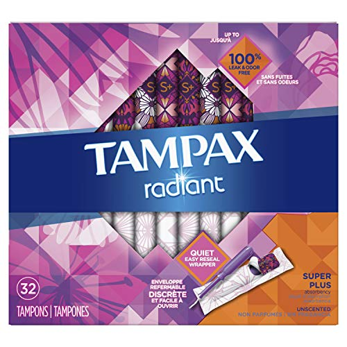 Tampax Radiant Tampons, Super Plus Absorbency, 28 Count  (Packaging May Vary)