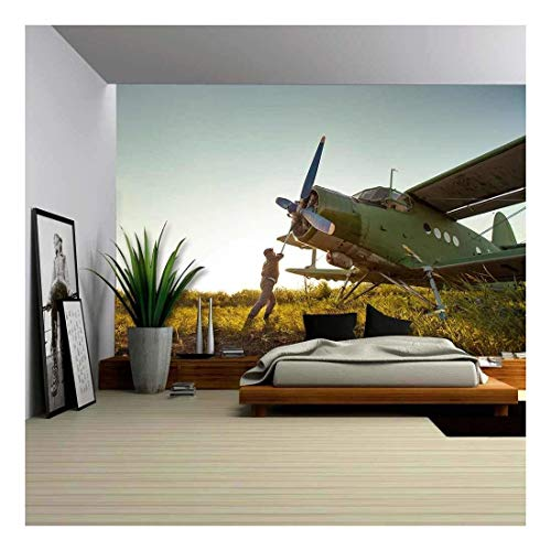 Peel Vintage Planes - wall26 - Pilot is Starting Engine of Vintage Plane Rural Background - Removable Wall Mural | Self-Adhesive Large Wallpaper - 66x96 inches